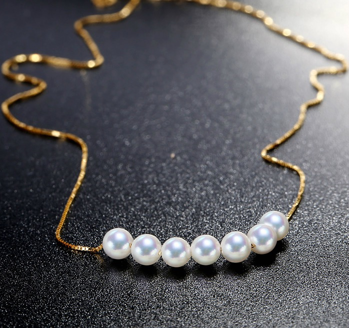White Akoya Pearl Tin Cup Necklace App87654f